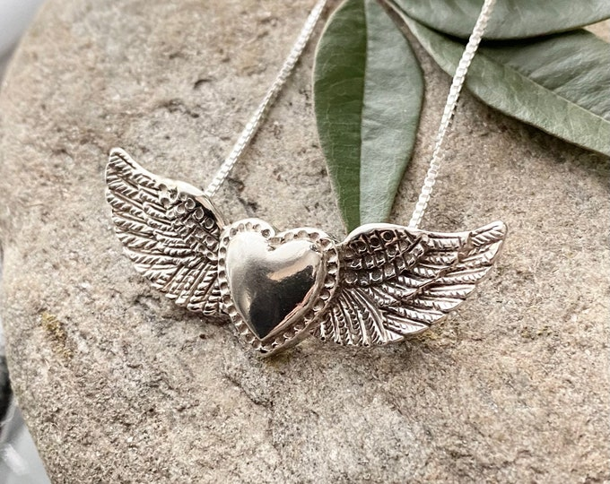 Sterling Silver Antique Finish Heart with Wings Necklace