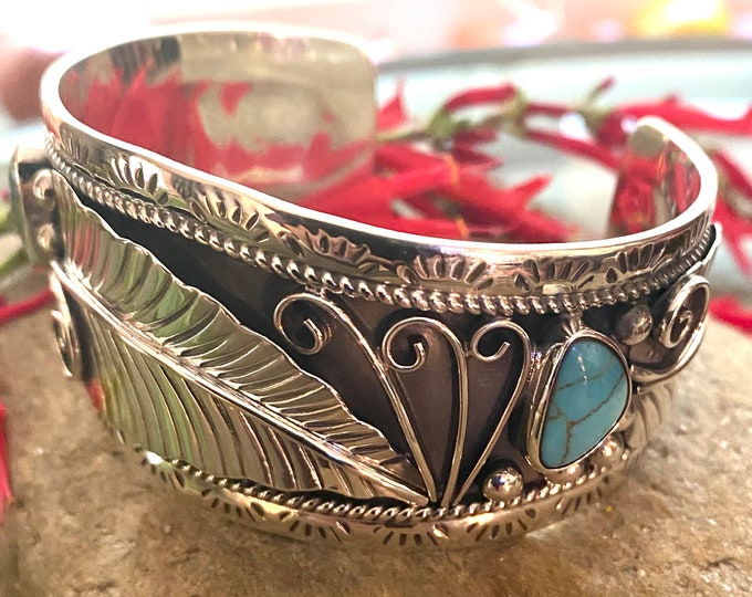 Sterling Silver Southwestern Style Feather Adorned Turquoise Cuff Bracelet