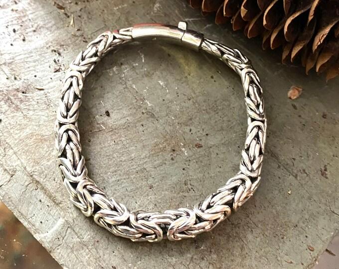 Sterling Silver Bali Byzantine Link Bracelet