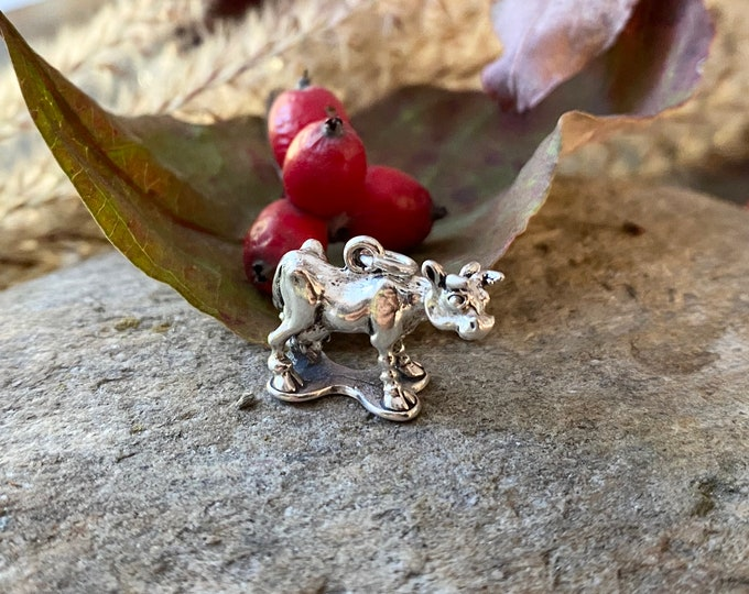 Sterling Silver Cute Little Cow Charm Pendant