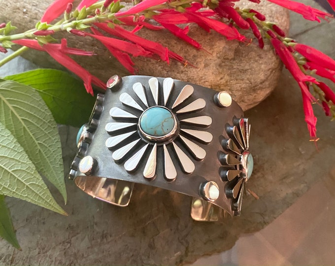 Sterling Silver Southwestern Style Flower Turquoise Cuff Bracelet