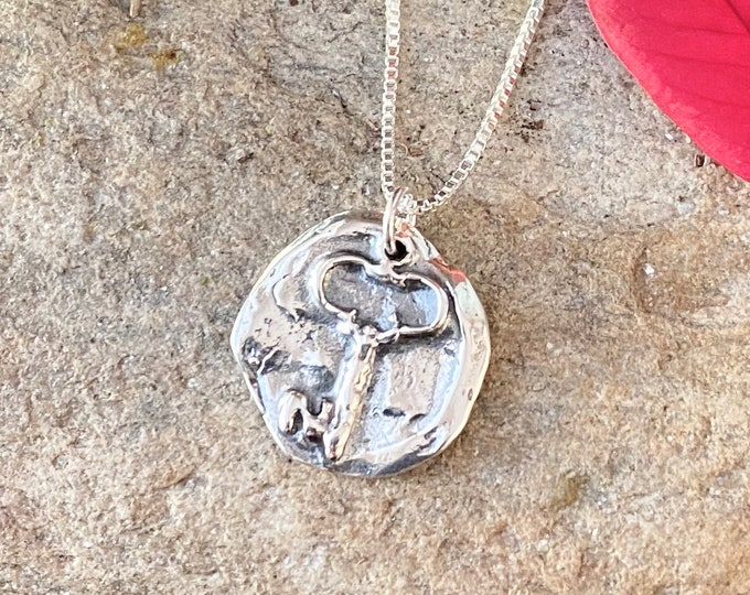 Sterling Silver Antique Finish Key Charm Pendant