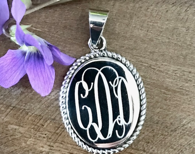 Sterling Silver Monogrammed Necklace with Rope Accented Oval Pendant