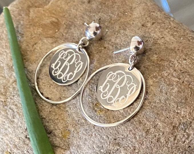 Sterling Silver Monogrammed Round Earrings