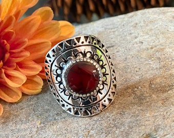 Southwestern Style Sterling Silver Stone Ring