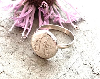 Sterling Silver Monogrammed Ring Round