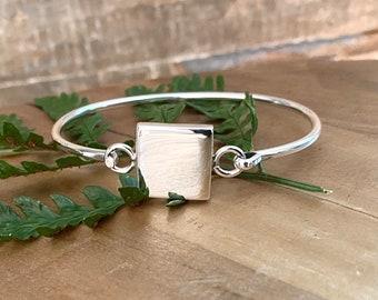 Sterling Silver Square Monogrammed Initials Bracelet