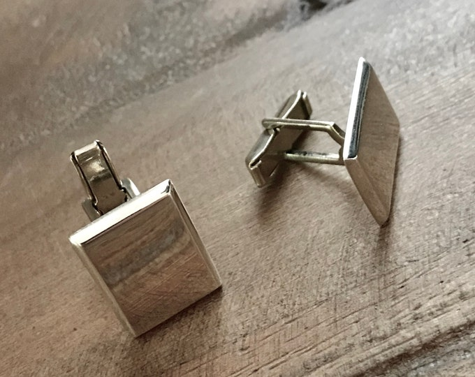 Monogram Sterling Silver Cuff Links Rectangle