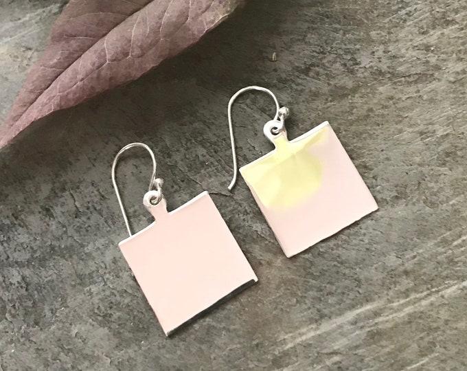 Sterling Silver Square Monogrammed Earrings