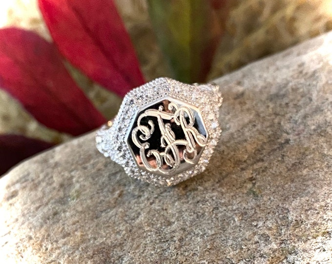 Sterling Silver Monogrammed Ring-Vintage Style