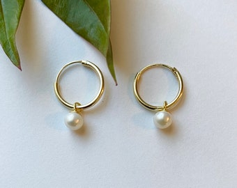 Gold over Sterling Silver Hoop Earrings with Pearl Dangle