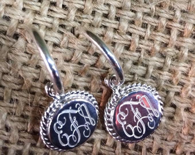 Sterling Silver Monogrammed Hoop Earrings with Rope Edge