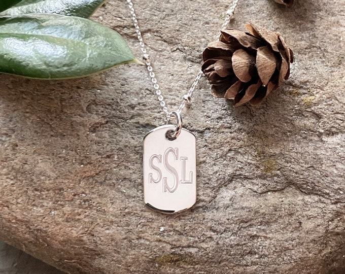 Sterling Silver Monogrammed Small Tag Necklace