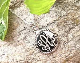 Monogrammed Sterling Silver Necklace with 18MM Round Rope Accented Pendant and Chain