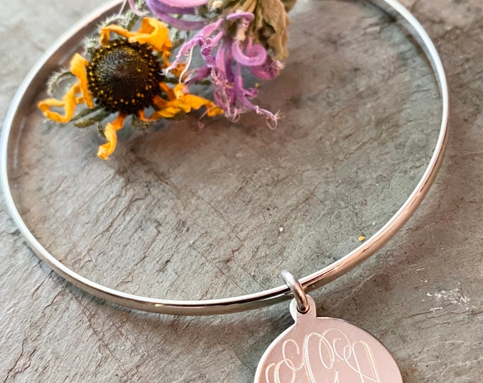 Sterling Silver Monogrammed Bangle Bracelet with Round Pendant