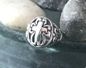 Sterling Silver Oval Cross Ring