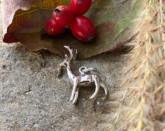 Sterling Silver Deer Buck Charm Pendant