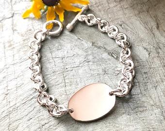 Sterling Silver Oval Monogrammed Initials Link Bracelet