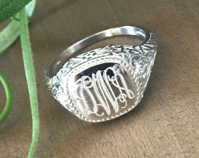 Sterling Silver Monogrammed Ring Square -Vintage Style
