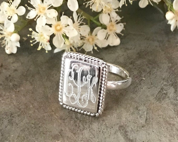 Sterling Silver Monogrammed Ring Rectangle With Rope Edge