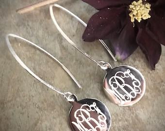 Sterling Silver Long Round Monogrammed Earrings