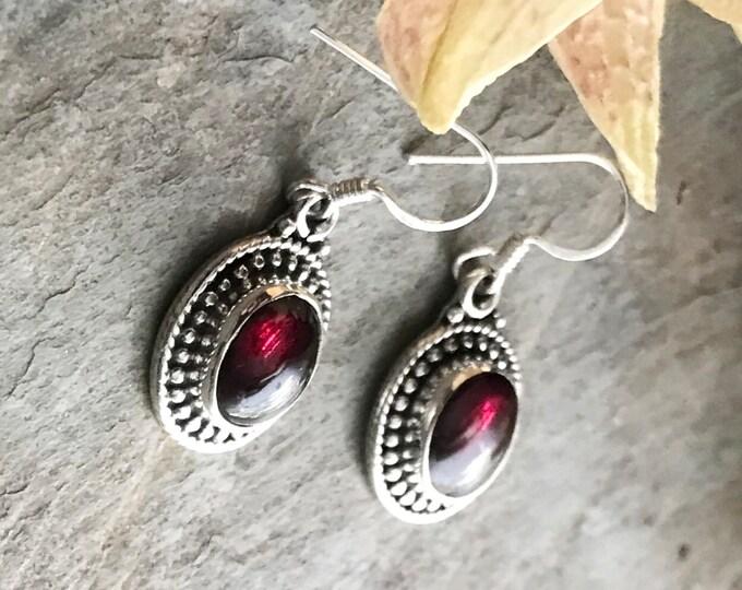 Sterling Silver Garnet and Sterling Earrings