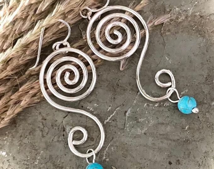 Sterling Silver Long Swirl Earrings