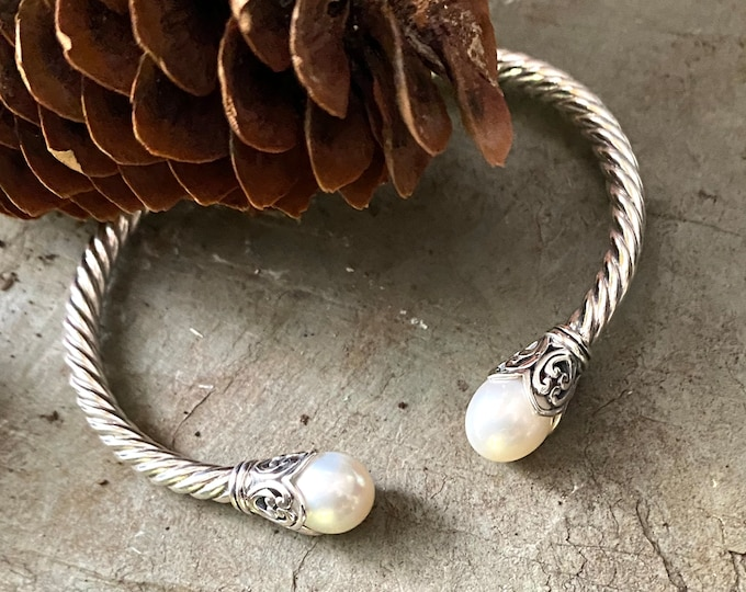 Sterling Silver Pearl and Sterling Hinged Bracelet