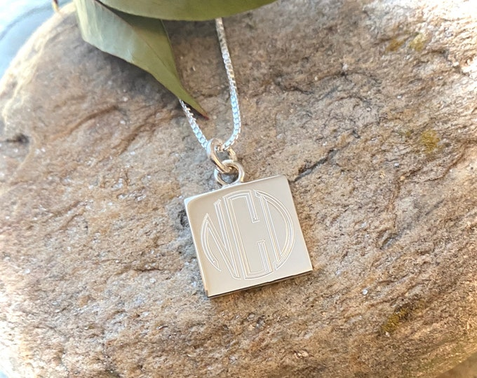 Monogrammed Sterling Silver Square or Round Pendant Necklace