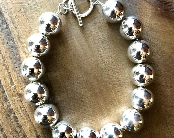 Sterling Silver Large Bead Bracelet