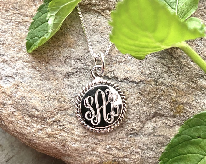 Monogrammed Sterling Silver Necklace with 16MM Round Rope Accented Pendant and Chain