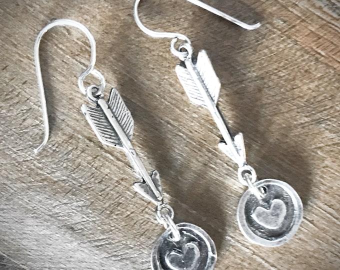 Sterling Silver Heart and Arrow Earrings