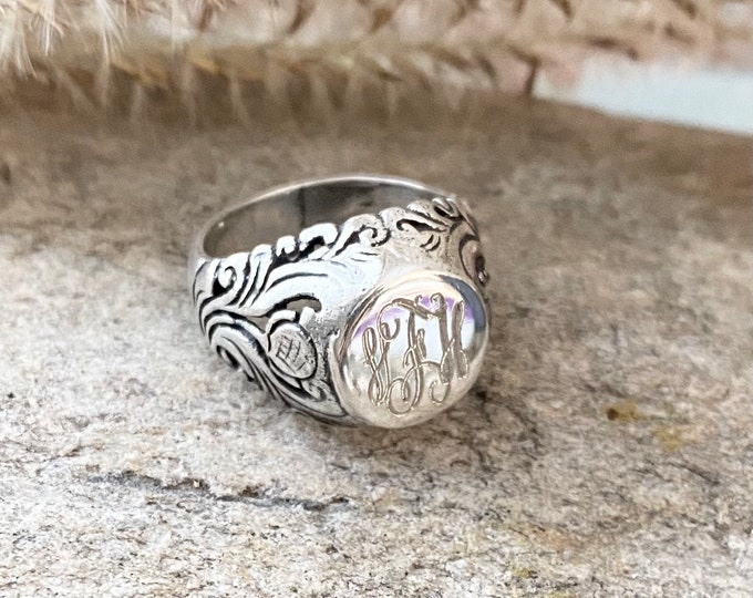 Sterling Silver Monogrammed Ring Vintage Style