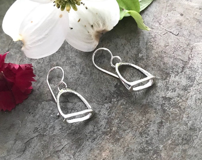 Sterling Silver Equestrian Horse Stirrup Earrings