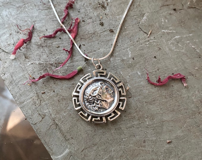 Sterling Silver Coin with Greek Key accent Necklace