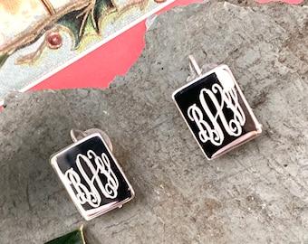 Sterling Silver Monogrammed Earrings Rectangle With Hook Earwire