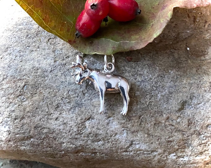 Sterling Silver Moose Charm Pendant