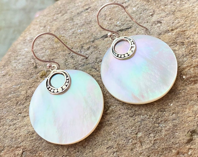 Mother of Pearl White Shell Sterling Silver Earrings