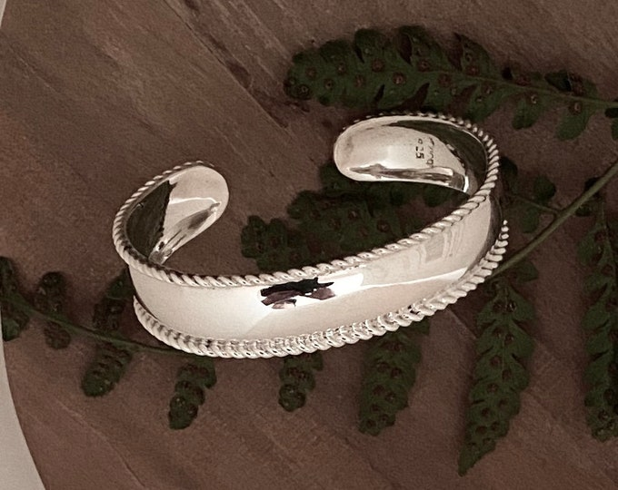 Sterling Silver High Polish Cuff Bracelet With Rope Accents