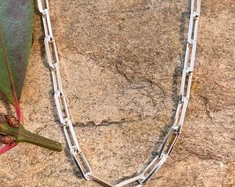Sterling Silver Paper Clip Link Anklet