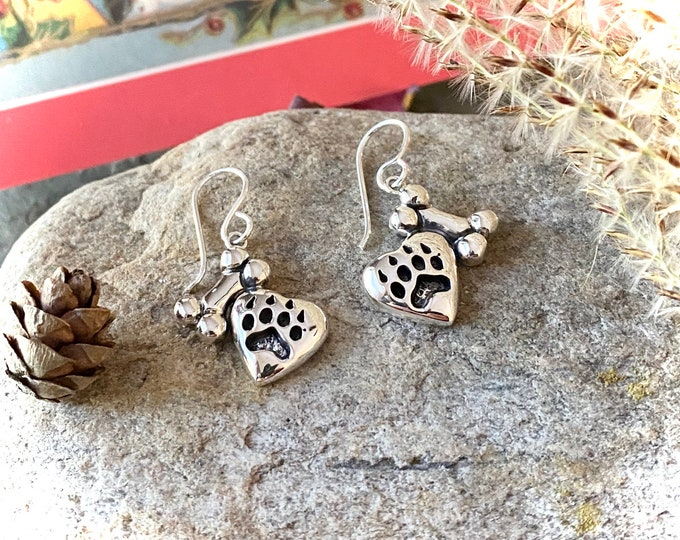Sterling Silver Paw and Bone Earrings