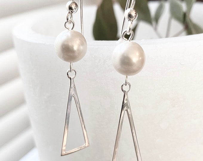 Pearl and Triangle Long  Sterling Silver Earrings