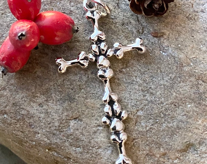 Sterling Silver Paw and Dog Bone Cross Pendant