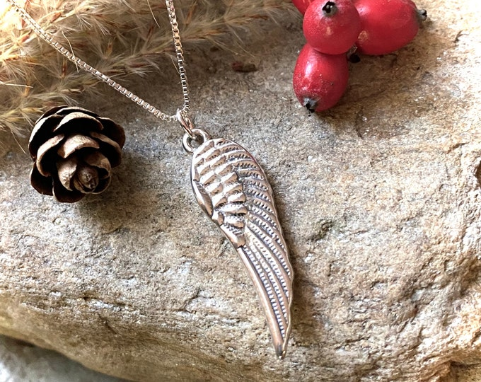 Sterling Silver 925 Single Angel Wing Necklace Pendant