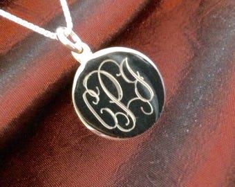 Monogrammed Sterling Silver Necklace