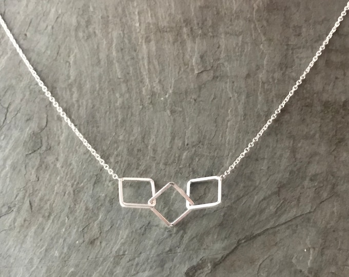 Sterling Silver Triple Square Necklace