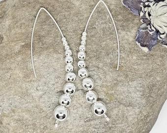 Long Beaded 925 Sterling Silver Earrings