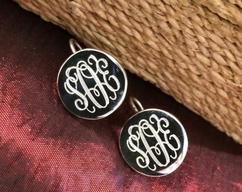Sterling Silver Monogrammed Earrings Round With Hook Earwire