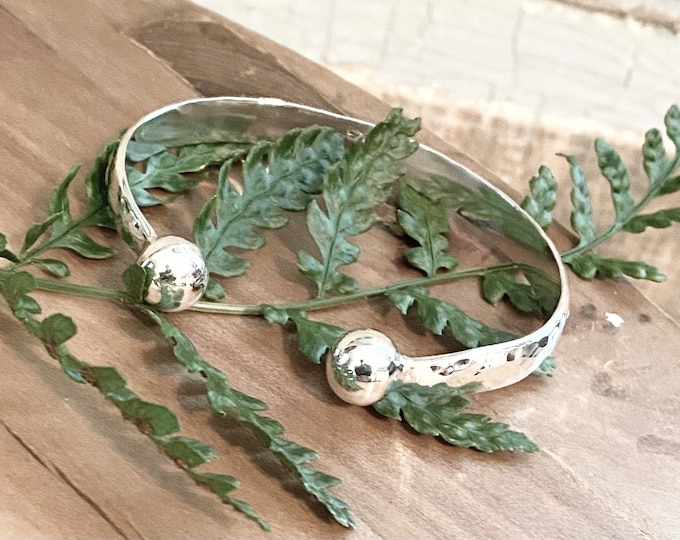Sterling Silver Beaded Hammered Cuff Bracelet