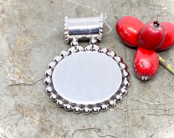Sterling Silver Monogrammed Necklace-Oval with Beaded Edge